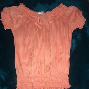 Peasant Tops, Size Small. Orange and Tie-dye.